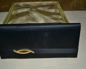 Clutch purse / Italy / black satin / gold accent / front accent / mirror / black / satin / gold / clutch / purse / evening bag / gold