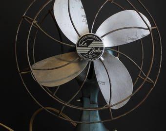 Vintage Le John Electric Desk Fan // Antique Fan // Industrial Blue
