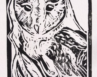 """Original, Unframed, Hand Pulled, Linocut Print - Barn Owl - 6""""x4"""" on A5 Paper - lino ink paper"""