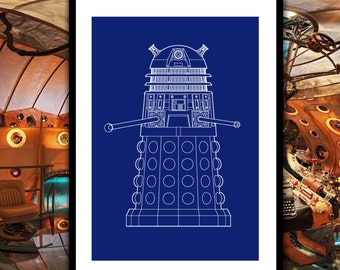Doctor Who Dalek Patent, Dr. Who Dalek Poster, Dalek Blueprint,  Dalek Print, Dalek Art, Dalek Decor, Doctor Who Wall Art, Whovian