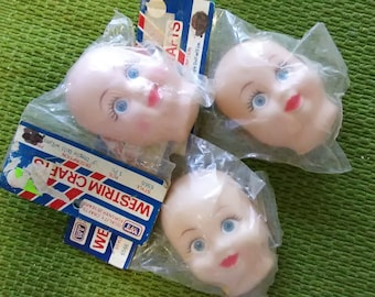 Vintage Vinyl Doll Face  - Baby with Blue Eyes - 3 inches - Help Rescued Cats