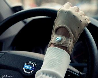 Beige Leather Fingerless Gloves / Lambskin Mittens / Women's  Driving Gloves
