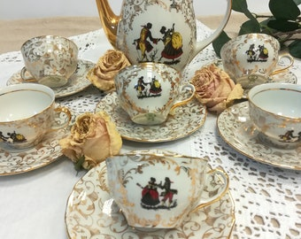RICHARD GINORI Coffee Service for 6 porcelain-gold decors-Vintage