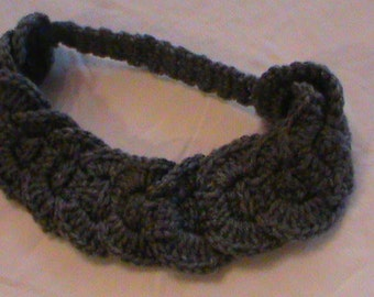 Crocheted gray headband