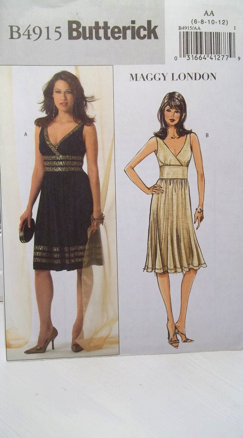 Misses\' Mock Wrap Cocktail Dress Butterick B4915 Sewing Pattern ...