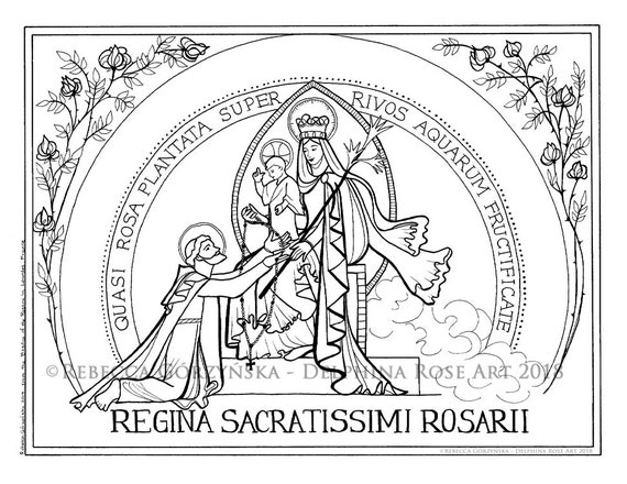 Our Lady Of The Rosary Coloring Page Victory Saint Dominic