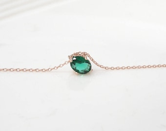 birthstone necklace, Emerald pendant necklace, birthstone of May, Bridesmaid gifts , rose gold plating, long necklace