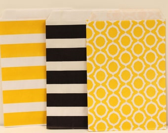 Paper Bags, 20 BUMBLE BEE Assorted Treat Bags, Bee Parties, Construction party, Yellow Paper Bags, Black Bags, Candy Bags, Paper Bakery Bags