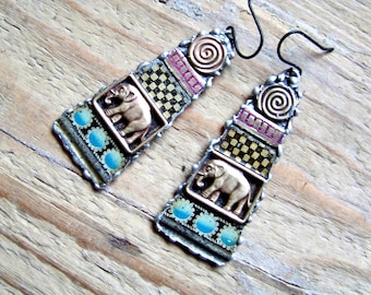 Recycled  tin earrings    *7