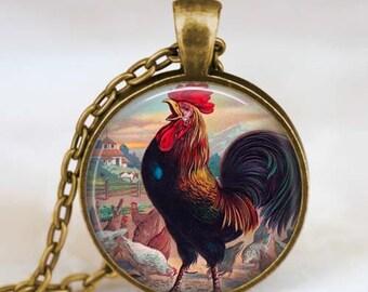 Chicken necklace , Chicken Jewelry  Chicken pendant , rooster pendant , rooster necklace