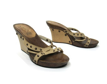 Beige Tan Leather and Wood Heel Wedge Sandals, with Brass Stud Details, Women's Shoe Size 6, Wedge Slides, Mules, Boho Southwestern Style