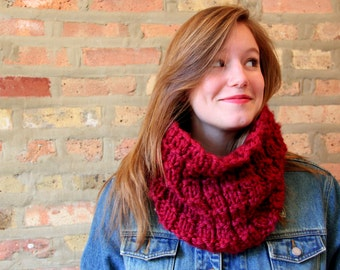 Hand Knit Chunky Neck Scarf - 12 Colors Available