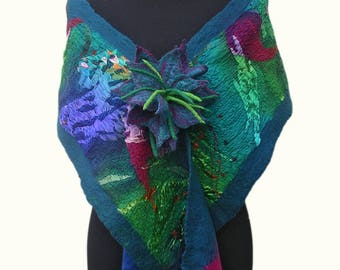 Devore Silk Nuno Felted Wrap, with Matching Corsage, Aqua, Teal, Fuchsia, Soft & Lightweight, Dramatic, Versatile, Luxurious Wearable Art