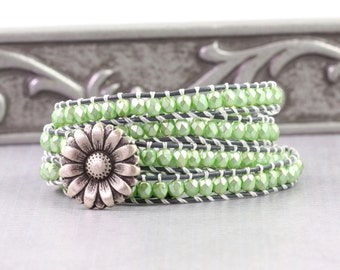 Mint Green Leather Wrap Bracelet Boho Jewelry Silver Skinny Wrap Bracelet Gray Leather Bracelet Bohemian Jewelry Gray White Four 4x Wrap