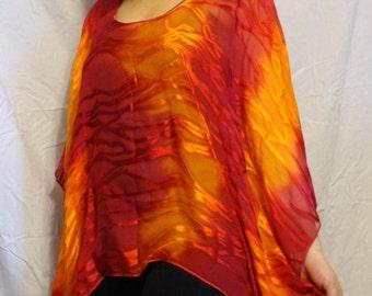 Women, Poncho, Silk, Orange Yellow Poncho
