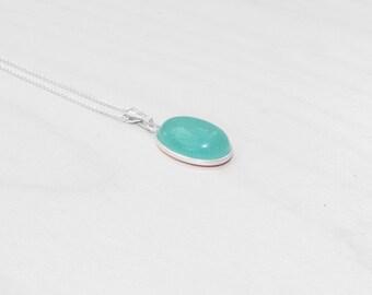 Green Aventurine Pendant, Green Aventurine Necklace, Light Green Gemstone, Quartz Pendant, Sterling Silver Jewellery, August Birthstone