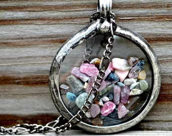 Floating Locket, Tourmaline Gemstones, Floating Necklace, Move Freely Inside Glass Locket, Floating Pendant, Shaker Necklaces (2723)