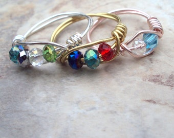 Custom Ring, Your Choice of Birthstones, Silver Gold Rose Gold, Tiny Crystals, Mothers Ring, Grandmothers Ring, Sisters Ring,  Handmade Ring