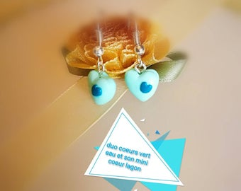 Watery green 3D hearts and her mini lagoon blue heart mounted on silver plated dangling earrings