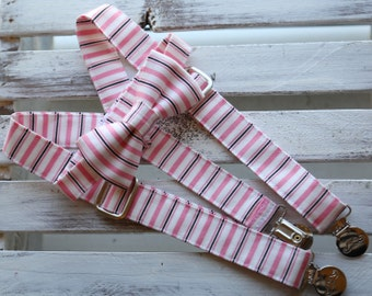 Pinky Lee Bow Tie and Suspenders Set (Pink, Black & White)