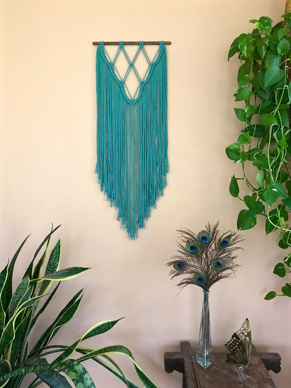 Teal Macrame Wall Hanging