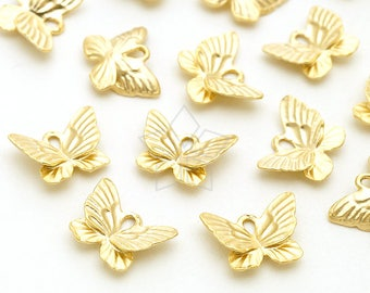 PD-2147-MG / 4 Pcs - Tiny Butterfly Charms, Small Butterfly Pendant, Matte Gold Plated over Pewter / 9mm x 7mm