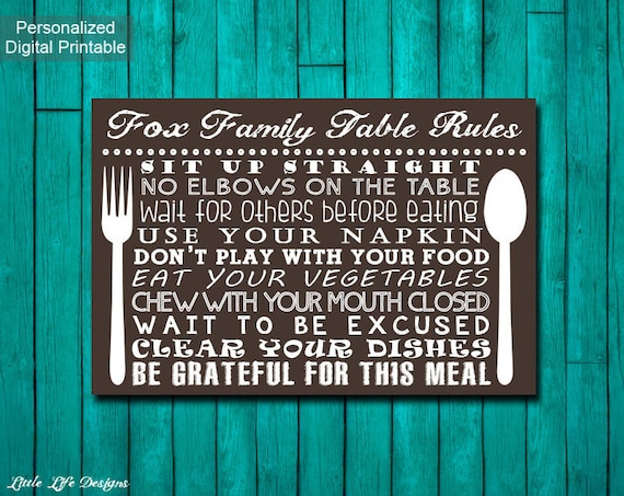 Table Manners Sign Family Rules Kitchen Decor