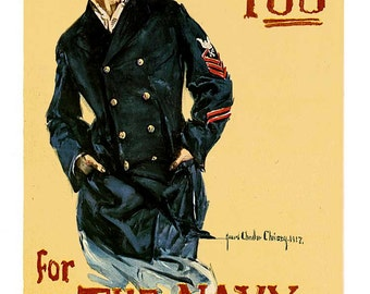 """Reproduction WWI Vintage """"I Want You for the Navy"""" poster c1917"""
