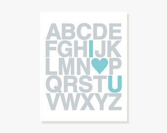Alphabet ABC Poster - Nursery ABC Alphabet Decor Kids Wall Art Poster Print I Heart U