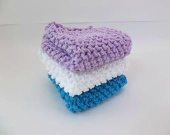 "Knit Cotton Cloths Turquoise Lavender and White Cotton Wash Dish Cloths 8"" Square  Set of 3"