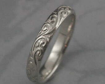 Solid 14K White Gold Flourish le Femme Wedding Band--Solid Gold Swirl Patterned Wedding Ring