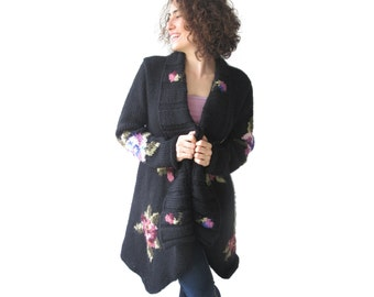 Plus Size Hand Knitted Cardigan with Roses Pattern Over Size by Afra