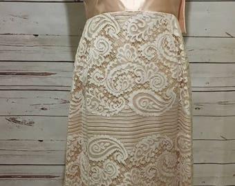 60's Wedding Dress. Small, 4/6. Blush Satin and White Lace. Sleeveless. Long Bow on Backside.