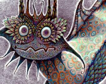 Monster - Midnight Monster - Art Print - Giclee Print - Kids Wall Art - Monster Art - Monster Print - Cute Monster