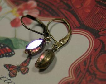 First Blush Petite Rose AB Vintage Rhinestone Earrings