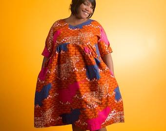 Handcrafted African Orange Cotton Print Below Knee Dress 1X 3X Pockets