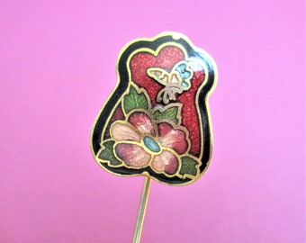 Cloisonne Stick Pin Red Lapel Brooch Vintage Red Gold Butterfly & Floral Image Vintage Jewelry Stick Pin Cloisonne Jewelry Mother's Day Gift