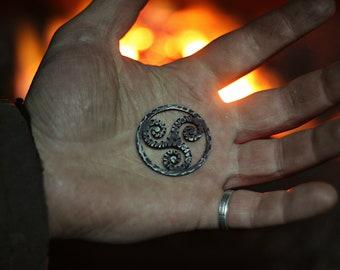 Forged Iron Triskele Necklace Celtic Pendant