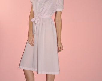 Baby pink pleated midi dress
