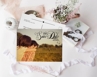 Photo Save the Date Postcard, Calligraphy Script & Heart Line, DIY Printable Photo Save the Date Postcard, Custom Save the Dates Photo Card,