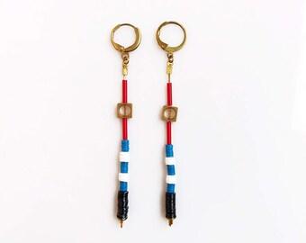 Long Drop Earrings, Long Geometric Earrings, Nautical Earrings Multicolor, Blue Red Earrings