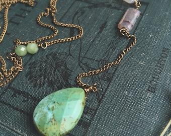 Chrysoprase necklace, Chrysoprase pendant, Drop necklace, Y necklace, Boho, Rutilated quartz, Gemstone necklace, Teardrop necklace