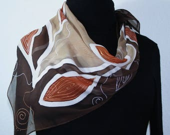 Beige Brown Hand Painted Chiffon Silk Shawl AFRICAN COFFEE - Select your SIZE. Scarf by Silk Scarves Colorado. Elegant Gift, Birthday Gift