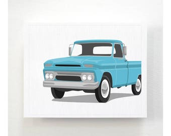 Vintage Truck wall art - GMC Pickup - childrens wall art - pick your colors, modern transportation art boys wall art