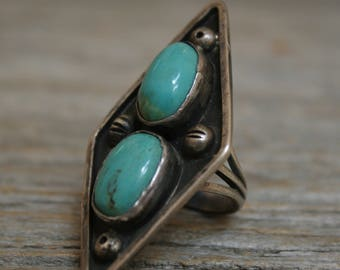 Old Pawn Native American Navajo Hachita Turquoise Sterling Silver Ring sz 5.5