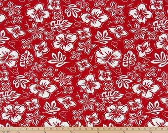 Red  Valance. Red & White curtain. Hibiscus Print. Floral. Hawaiian. Window treatment.  Designers pattern.window topper. Choose  your sizes