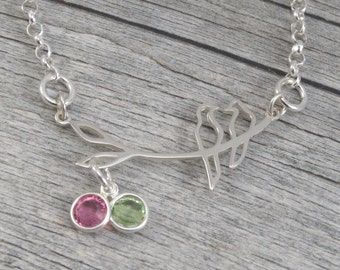 Ready to Ship - Love Birds Necklace - Sterling Silver - Two Birthstones - Couples jewelry - Bird Necklace