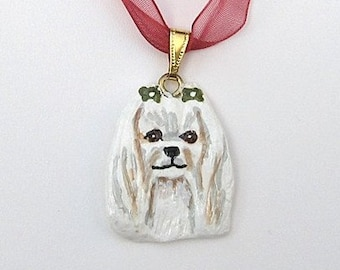 Dog Breed MALTESE Handpainted Clay Necklace/Pendant Artist Painted