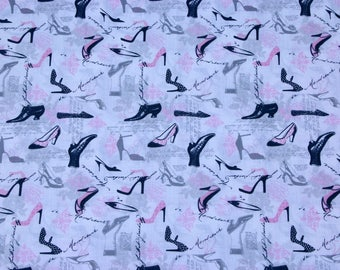 Shoes dressmaking fabric, Timeless treasures, cotton fabric, novelty fabric, craft fabric, quilting fabric, sold by metre, apparel fabric