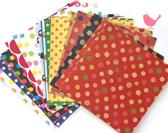 Scrap Pack - Japanese rice and origami paper ephemera, dots print (30 pieces)